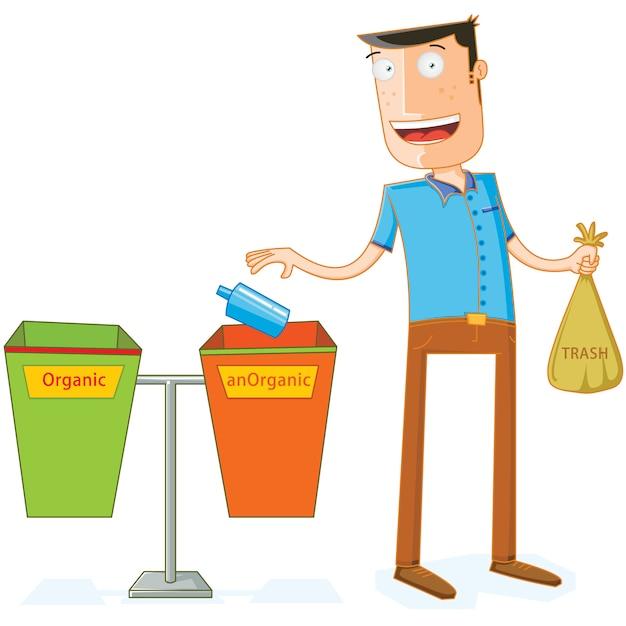Colocando algum lixo em lixeiras adequadas Vetor Premium