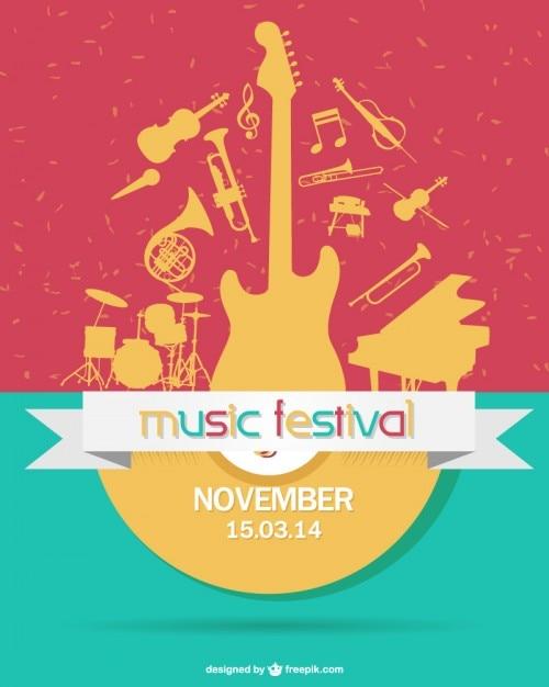 Coloful festival de música Vetor grátis