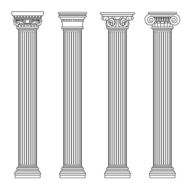 Colomns de pedra clássicos da arquitetura grega e romana. ilustração do vetor de contorno. coluna de arquitetura e pilar antigo Vetor Premium
