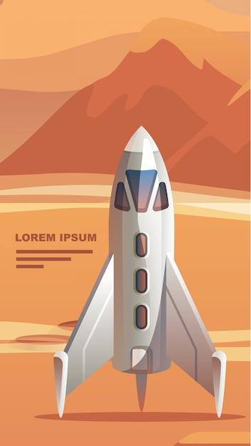 Colonização planeta vermelho astronauta. Vetor Premium