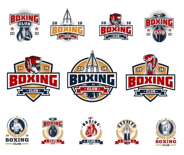 Coloque emblemas de boxe, adesivos isolados no branco. Vetor grátis