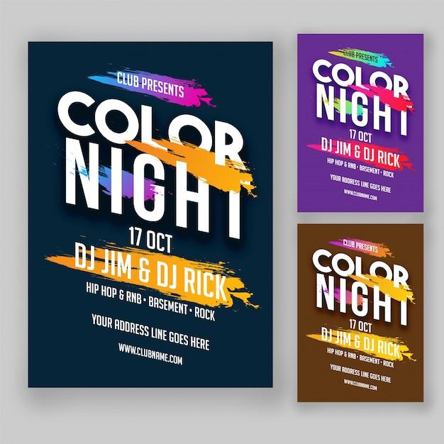 color night party flyer ou design de cartazes em opções de cores