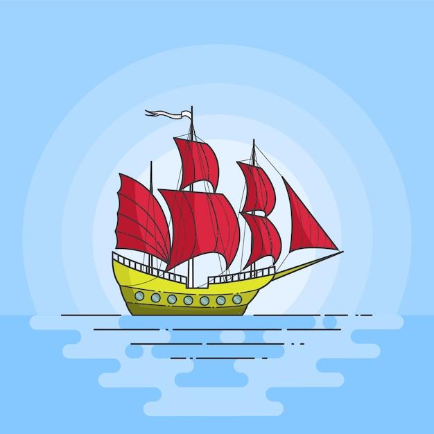 Colora o navio com as velas vermelhas no mar no fundo azul. banner de viagem. skyline abstrata. arte de linha plana. ilustração vetorial. conceito de viagem, turismo, agência de viagens, hotéis, cartão de férias. Vetor Premium