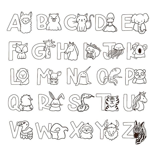 Coloração bonita para crianças com alfabeto Vetor Premium