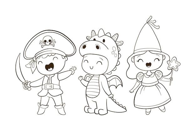 Coloração bonita para crianças com conto de fadas Vetor Premium