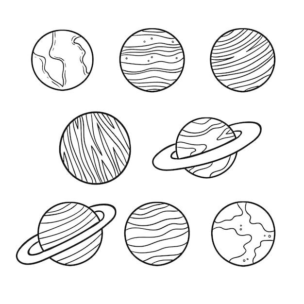 Coloração bonita para crianças com planetas Vetor Premium