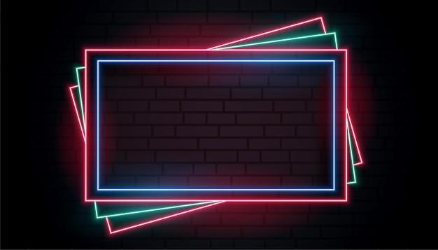 Colore o quadro de néon em design de estilo empilhamento Vetor grátis