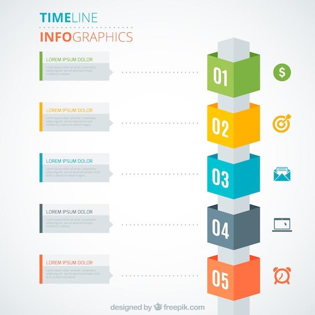 Colorful cronograma infográfico Vetor grátis