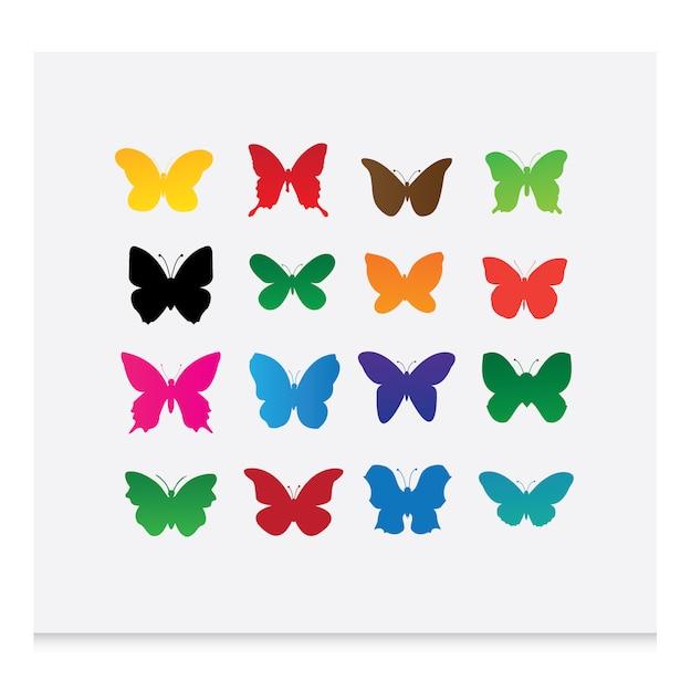 Coloridas borboletas silhuetas Vetor grátis