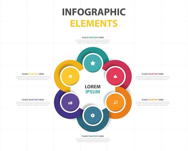 Colorido, abstrato, círculo, negócio, infographic, modelo Vetor grátis
