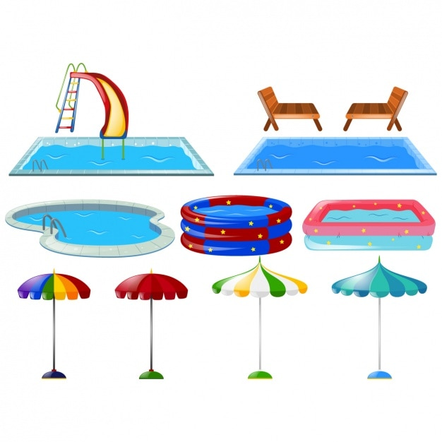 Colorido coleção piscinas Vetor grátis