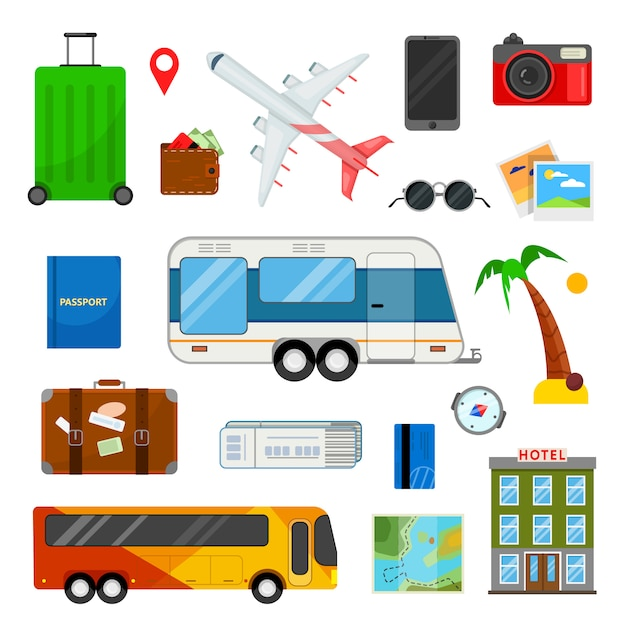 Colorido conjunto de ícones para viajar em estilo simples em branco Vetor Premium