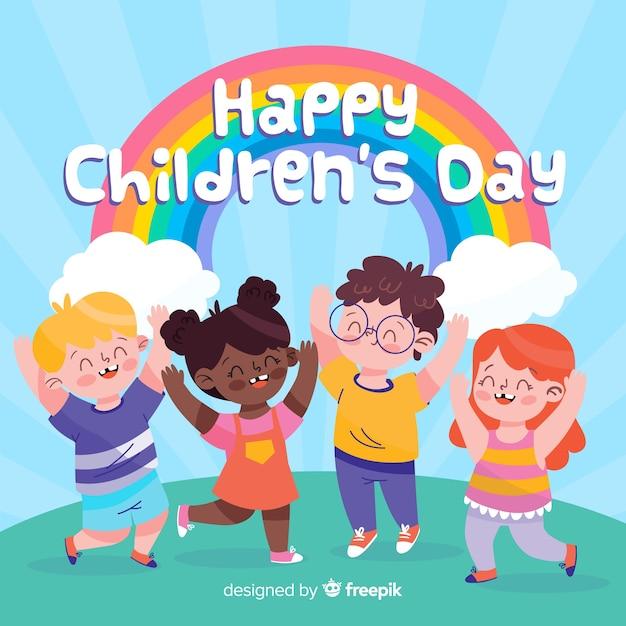 Colorido desenhado para o dia internacional das crianças Vetor grátis