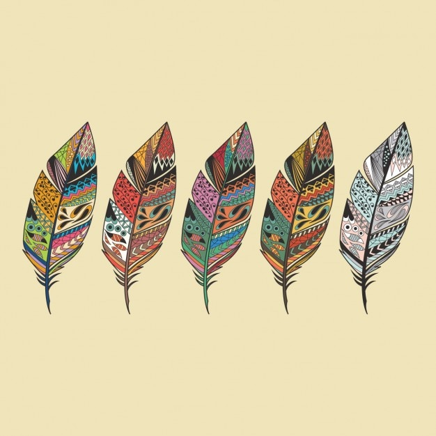 Colorido design penas Vetor grátis
