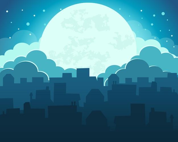 Colorido do céu da noite da lua com fundo da cidade da meia-noite Vetor Premium