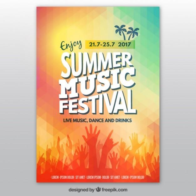 Colorido do verão poster festival de música Vetor grátis