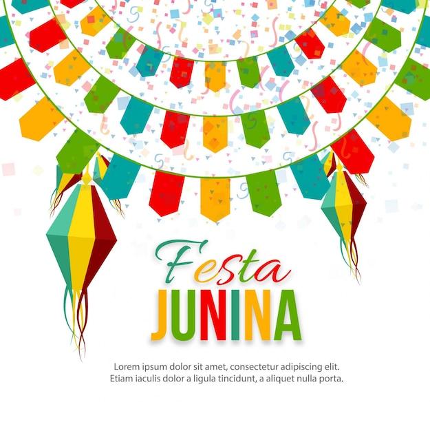 Colorido festa junina background Vetor grátis