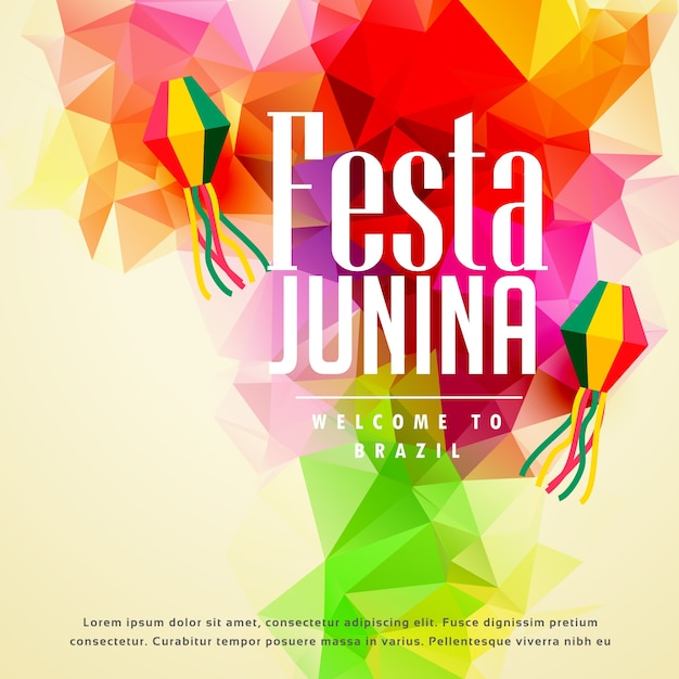 Colorido festa junina saudação fundo Vetor grátis