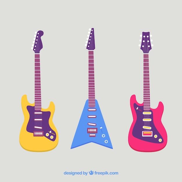 Colorido Jogo Eletrico Guitarras Apartamento Desenho Vetor