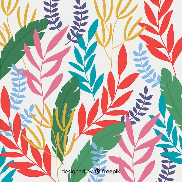 Colorido, mão, desenhado, folhas, fundo Vetor grátis