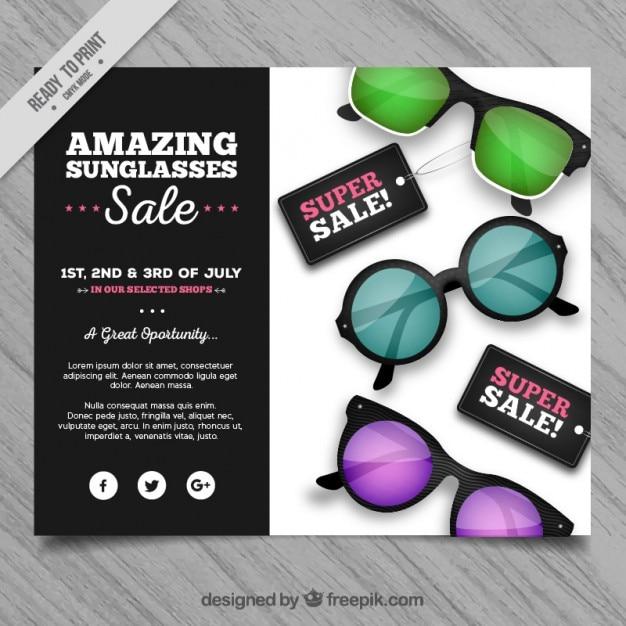 92eeab3d4 Colorido óculos de sol venda panfleto | Baixar vetores grátis
