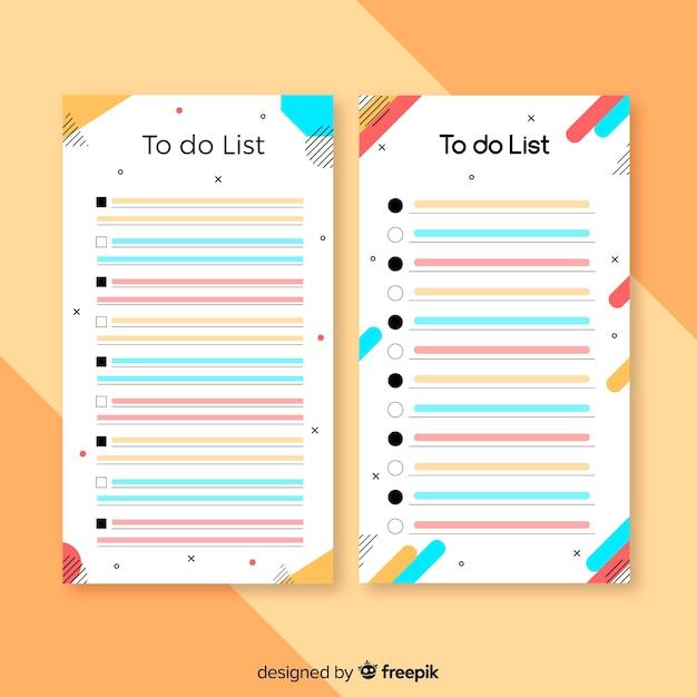 Colorido para fazer a lista de coleção com design plano Vetor grátis