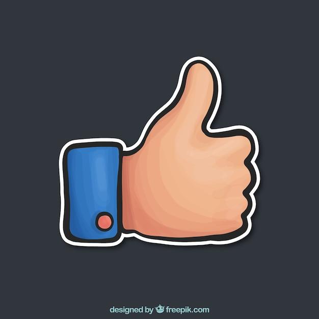 Colorido polegar acima no estilo desenhado mão Vetor grátis
