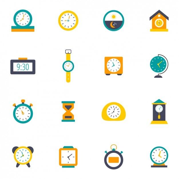 Colorido relógios ícones Vetor grátis