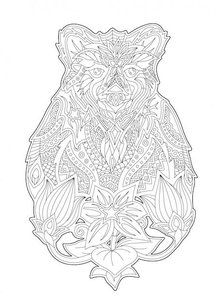 Colorir Livro Arte Com Urso Dos Desenhos Animados E Flores Vetor