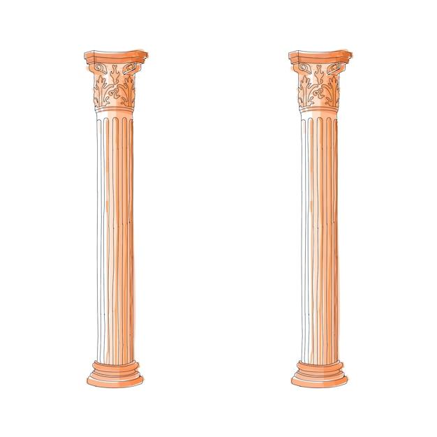 Coluna de doodle grega estilizada colunas de corinthia jônica doric Vetor Premium
