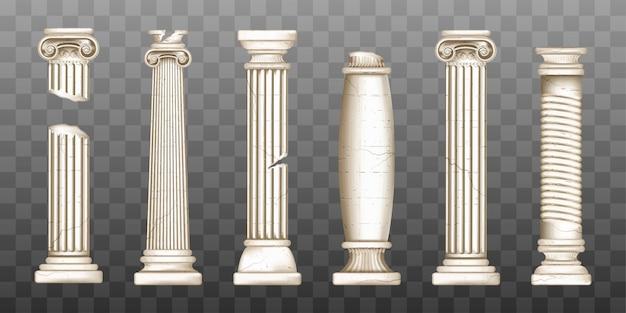 Colunas gregas quebradas antigas, pilares barrocos Vetor grátis