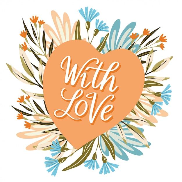 Com flor de coração de amor Vetor Premium