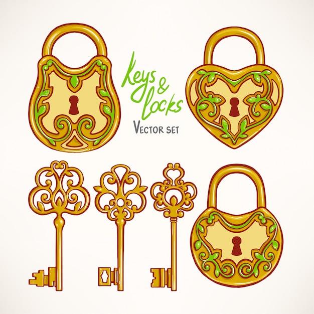 Com três lindas chaves retrô e fechaduras com motivos florais Vetor Premium