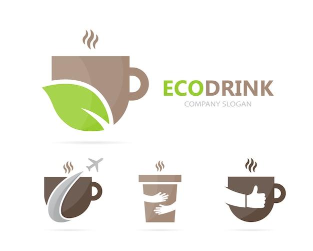 Combinação de café e folha logo. Vetor Premium