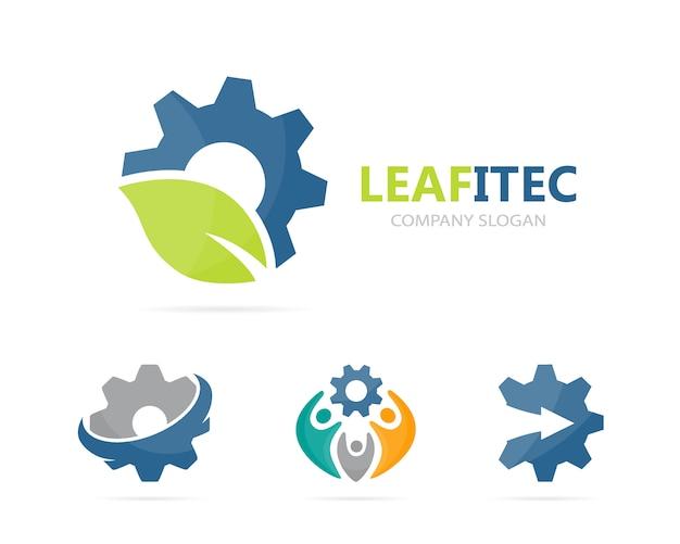 Combinação de logotipo de engrenagem e folha. Vetor Premium