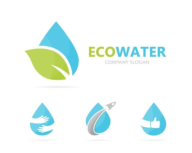 Combinação de logotipo de óleo e folha. Vetor Premium