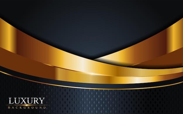 Combinação de luxo dark navy com fundo de linhas douradas. elemento gráfico. Vetor Premium