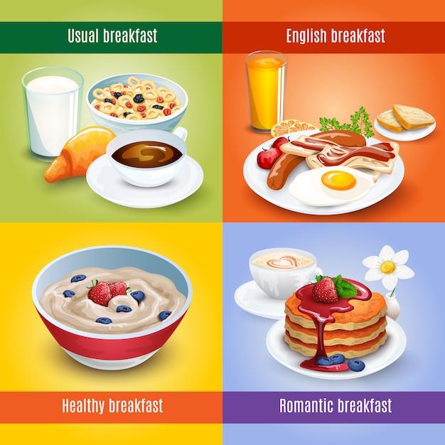 Combinação quadrada do café da manhã 4 ícones lisos Vetor grátis