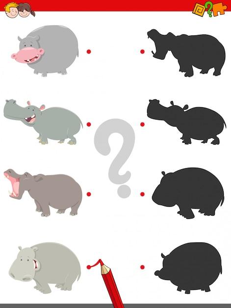 Combinando sombras jogo educativo com hipopótamos Vetor Premium