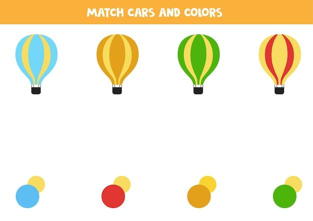 Combine balões de ar quente e cores. jogo educativo de correspondência para crianças. Vetor Premium