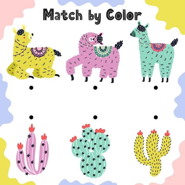 Combine lhamas com cactos por cor. jogo educativo de atividades de classificação para crianças. planilha de comparação pré-escolar para crianças. ilustração Vetor Premium