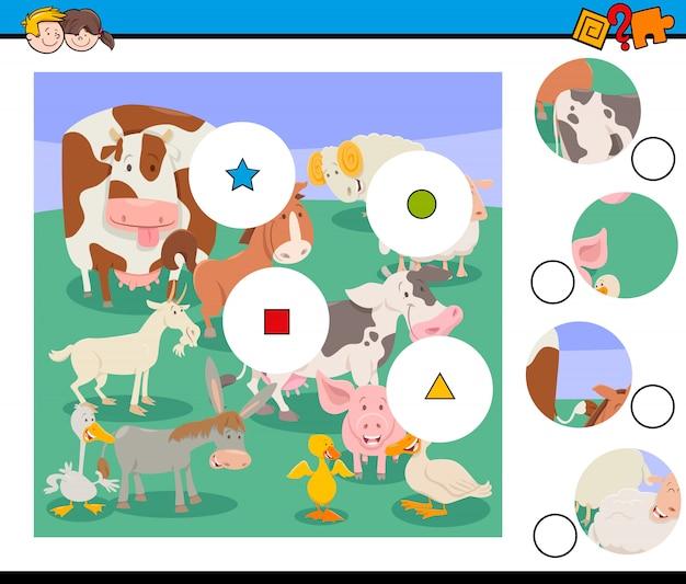 Combine o jogo de peças com animais de fazenda Vetor Premium