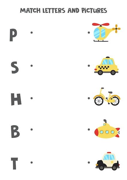 Combine transporte e cartas. jogo lógico educativo para crianças. planilha de vocabulário. Vetor Premium