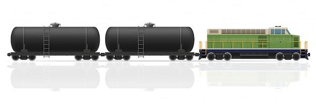 Comboio ferroviário com locomotiva e vagões de ilustração vetorial Vetor Premium