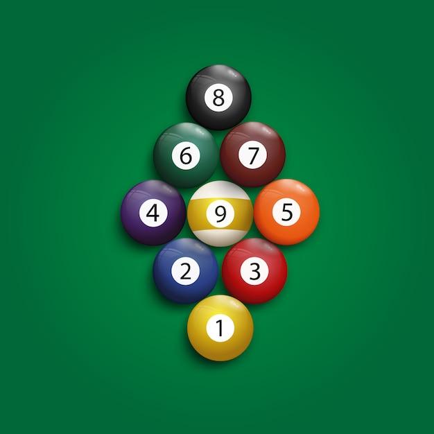 Começando bilhar bolas lazer piscina 9 jogo do clube. Vetor Premium