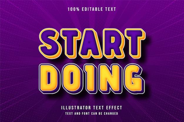 Comece a fazer efeito de texto editável em 3d, gradação de amarelo, laranja roxo, estilo cômico moderno Vetor Premium