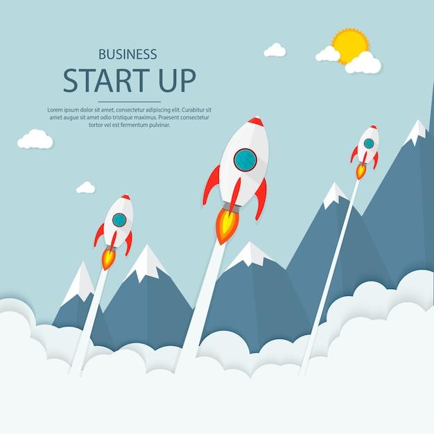 Comece. renda e sucesso. infografia de negócios. Vetor Premium
