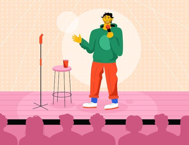 Comediante profissional atuando em show de stand up no palco Vetor Premium