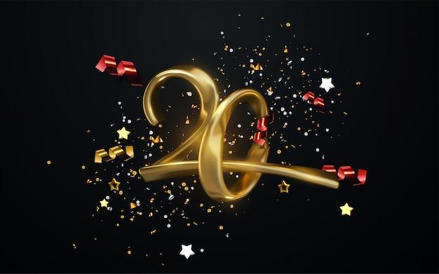 Comemoração do 20º aniversário. números dourados com confetes brilhantes, estrelas, brilhos e fitas de serpentina. ilustração festiva Vetor Premium