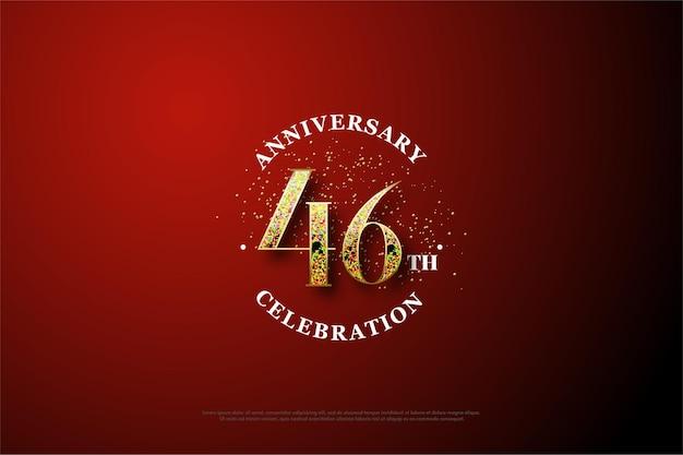 Comemoração do 46º aniversário com números dourados desaparecendo Vetor Premium